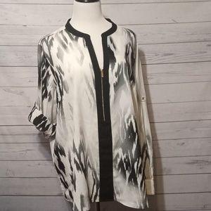 Calvin Klein Ikat 1/2 zip blouse size 2x